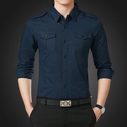 64239468ab2 Autumn Men Shirt Long Sleeve Double Pocket Solid Color Man Shirts Slim Fit  Green Khaki Blue M-5XL Mens Shirts
