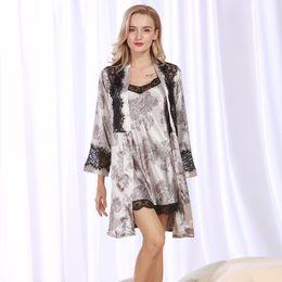 f8a4e72dab Silk Robe Cotton NZ - Embroidered Silk Pajamas Women s Robes Sexy Pajamas  Home Furnishing Set