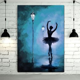 Chinese  Hand Painted Abstract Ballet Dancer Oil Painting on Canvas Street Landscape Modern Home Decor Wall Pictures Painting Art manufacturers