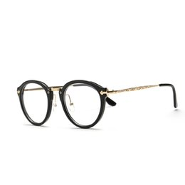 60594d828262 Stylish Vintage Optical Women Round Eyeglasses Round Frames Men Accessories  Flat Mirror With Myopia Grade Glasses Frame