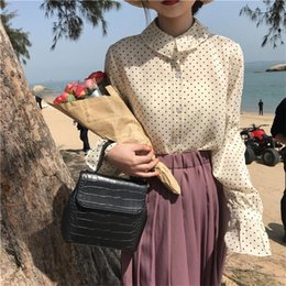 2018 clothes japan Women's Blouses Japan Kawaii Ladies Vintage Loose Wave Flared Sleeve Chiffon Blouse Female Korean Harajuku Clothing For Women discount clothes japan