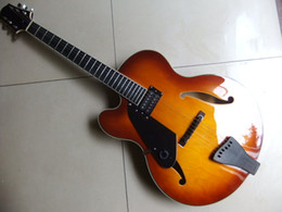 Hollow body guitar sale online shopping - Left Handed JAZZ Guitar ELECTRIC GUITAR One Pickups SEMI HOLLOW BODY Hot Sale In Sunburst