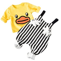 toddlers girls clothes 2019 - 2018 New Baby's Sets Cotton Full T-shirt+Overalls Spring Autumn Kids Boys Outfits Toddler Tracksuit Clothing Baby G