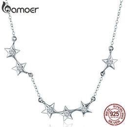 2c0a3984a5fc Auténtica plata de ley 925 deslumbrante CZ estrella apilable collares  pendientes para mujeres regalo de la joyería de plata
