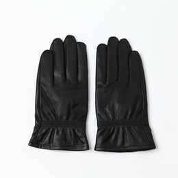 1af17adcbc1c2 Sheep Mittens UK - men leather gloves winter thick warm black classic  leather gloves waterproof non