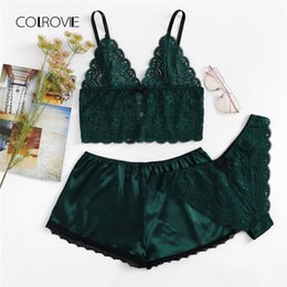 2912136dabc COLROVIE Army Green Sexy Floral Lace Cami Lingerie Set 2018 New Burgundy Women  Bra   Brief Sets Wireless Sexy Underwear Bra Set