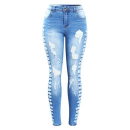 $enCountryForm.capitalKeyWord UK - New Arrived Plus Size Stretchy Ripped Jeans Woman Side Distressed Denim Skinny Pencil Pants Trousers For Women