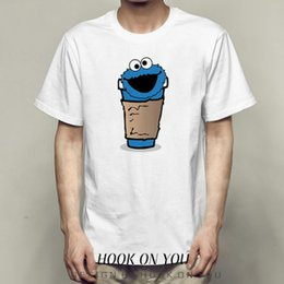 4a59a60a9 Cup t shirt Cookie monster blue smile short sleeve gown Sesame street tees  Fastness printing clothing Quality modal Tshirt