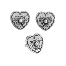 ring shaped earrings Australia - European American style retro old silver heart-shaped carving pattern Inlaid Imitation Pearl Stud Earrings Ear Clip Ring Set