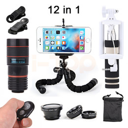 tripod for macro Australia - New 8X Zoom Lens Telescope Telephoto Lenses Microscope Fisheye Wide Angle Macro Lens For Smartphone With Tripod Clips Monopod
