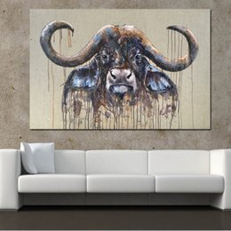 Art Canvas Prints Australia - 1 Piece Buffalo Wall Pictures for Living Room Abstract Pictures Canvas Art Prints Posters Decoration No Framed