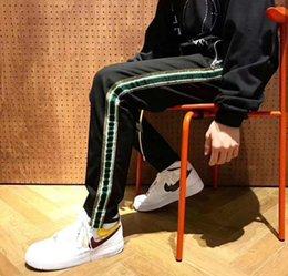 Großhandel hohe Qualität 2018 Vintage Männer Seite Gestreifte Mode Jogger Jogginghose Elastische Taille Casual Vintage Gerade Hosen High Street