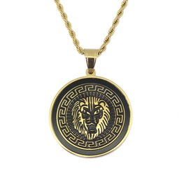 crystal 3mm UK - Stainless Steel Jewelry hip hop Lion Head Pendant Necklace with 3mm 24inch Rope Chain SN112