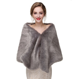Wholesale CMS08 Faux fur Stole Capes Wedding Fur shrug Bridal Stole Fur Shawl Cape Wedding Bolero Jacket