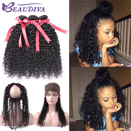 Peruvian Curly Human Hair Australia - Beau Diva 8A Grade Peruvian Kinky Curly Hair 360 Lace Frontal With Bundles Virgin Human Hair 3 Bundle With 360 Frontal Natural Color