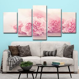 $enCountryForm.capitalKeyWord Australia - 5 PCS Modular Pictures HD Printed Canvas On Oil Paintings Frame For Living Room Wall Art 5 Panel Pink Carnations Flower Poster