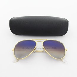 Scratch Glasses Lens Canada - Classic Pilot Glass Lens Sunglasses Womens Men Sunglasses Eyeglass UV400 Gold Metal Frame Mixed 58MM Blue Gradient Mirror Eyewear With Case