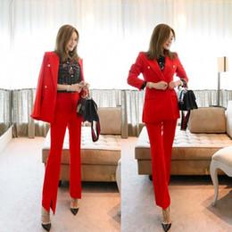 Calças das mulheres terno do escritório do sexo feminino terno de Negócios  OL uniforme profissional vermelho temperamento Fino duas peças conjunto de  ... cc7cf424aa704