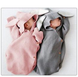 $enCountryForm.capitalKeyWord NZ - Adorable Rabbit Baby Stroller Sleeping Bag Spring Autumn Newborn Infant Knitted Swaddle Wrap Nest Envelopes For Toddler Kid 0-1Y