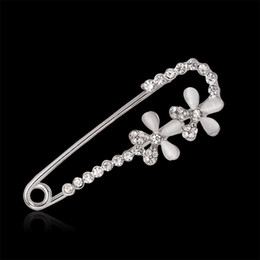 white safety pins NZ - White Safety Pin Brooch Jewelry double flower Opal Rhinestone Collar Brooches For Women Scarves Corsage Shawls