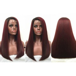 $enCountryForm.capitalKeyWord Australia - Fashion Full Lace Human Hair Wigs Ombre #1bT99J Glueless Lace Front Wig Silky Straight Two Tone Brazilian Hair Wigs with Baby Hair