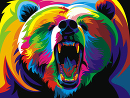 $enCountryForm.capitalKeyWord Australia - Modern Home Decor Prints Colorful Bear Animal Oil painting High Quality Printed on Canvas art wall poster painting for Living Room Decor