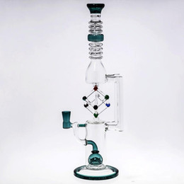 glass cone piece 2019 - Cheap Gift Box Glass Bong with Cone Piece Dab Oil Rigs Thick Baisc Recycler Bongs Perc Smoking Pipes cheap glass cone pi