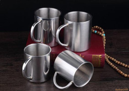 hot mugs Canada - free shipping 220ML 280ml Double stainless steel mugs Anti-hot Portable Mug Cup Double Wall Travel Coffee Mug Tea Cup