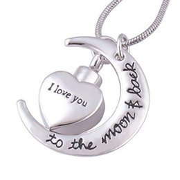 Ash jewelry online shopping - European and American necklace in memory of loved ones heart pendant love you stainless steel cremation ash funeral jewelry