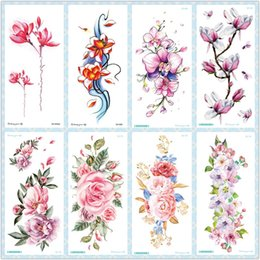 $enCountryForm.capitalKeyWord NZ - Rocooart QC Flowers Arms Tattoo Colorful Taty Body Art Waterproof Temporary Tattoo Stickers Rose Fake Orchid Tatouage