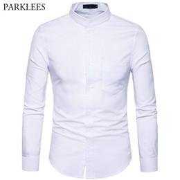 a2b57adbe4301e Herren Oxford Dress Shirt Slim Fit Langarm Stehkragen Dress Shirts 2018  Spring New Herren Freizeit Shirt für Business Mann XXL