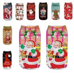 Christmas Reindeer Socks UK - 33 Styles Christmas Women Ankle Socks 3D Santa Claus Snowman Reindeer Elk Printed Short Stockings Xmas Emoticons Soft Texture Sock Slippers