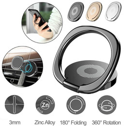 Wholesale 360 Finger Ring Stand Phone Holder Desk Bracket Car Magnetic Metal Plate Cell Phone Mounts Smartphone Holders