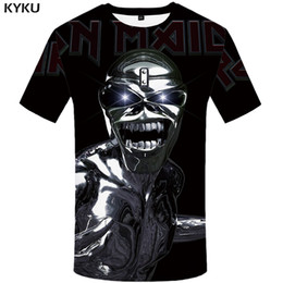 Discount hipster clothing wholesale - KYKU Iron Maiden T-shirt Men Skull T Shirt Hip-hop Tee Black Anime Clothes 3d Print Tshirt Gothic Mens Clothing Hipster