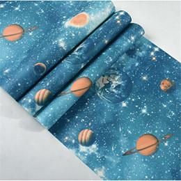 Beibehang Outer Space Planet Star Wallpaper Ceiling Top Children Room Blue Theme Papel De Parede