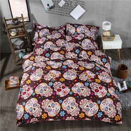 Discount king size skull bedding - PAPA&MIMA Skull and flower print 3pcs bedding set polyester Duvet Cover+Pillowcases set king queen twin size