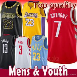 2018 New Houston Masculino 7 Carmelo Anthony 13 James Harden 3 Chris Paul  Jersey Rockets 2019 ac6039cb5be74