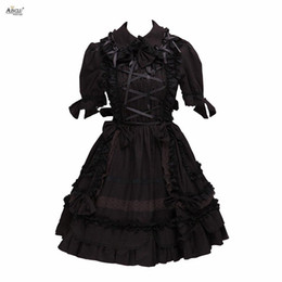 Gothic Woman Costumes UK - Lolita Dress Women Gothic Dark Black Lolita Costumes Cotton Short Sleeves Cosplay A-line XS-XXL Cosplay Knee-Length Dress