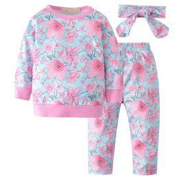 overalls suit girls 2019 - 2018 New Children's Autumn Clothing Sets for Baby Girls Floral Printed Long-Sleeved T-shirt+Pants+Headband Overalls