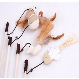 pet mouse supplies Australia - 2018 new pet supplies Natural wood hemp art mouse head small fish cat toys with bells to play with the cat rod stick play with the cat stick