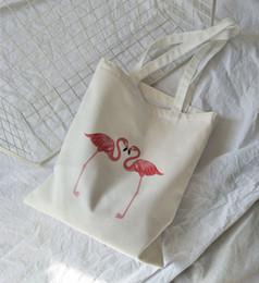 Flamingo handbags online shopping - Korean College Wind Canvas Fashion Creative Flamingo Literary Leisure Large capacity Shoulder Bag Portable Decorative handbag
