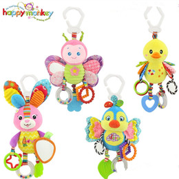 Discount monkey beds - Wholesale-Happy Monkey Baby Toy 0M+ Soft Plush Robot Cute Android Baby Rattle Ring Bell Crib Bed Hanging Doll
