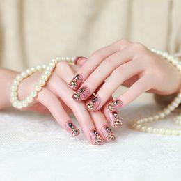 $enCountryForm.capitalKeyWord NZ - 24pcs Set Luxury Rhinestone Flora Bride Nail Art Tips Full Cover Glitter French False Nails with Glue Fingernail Tool Fake Nail