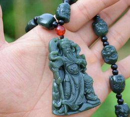 Carved Jade Red Pendants Australia - Natural Green Hetian Jades Pendant 3D Carved guangong + 18 Arhat Heads Beads Necklace Pendants Men's Jades Jewelry