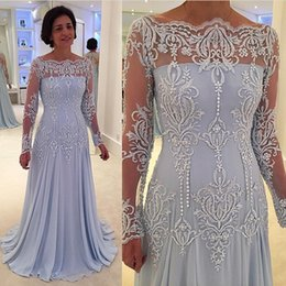 chiffon bateau dress mother bride UK - Light Sky Blue Mother Of The Bride Dress Long Sleeves Lace Plus Size A Line Formal Evening Gowns Bateau Neckline Chiffon Gowns