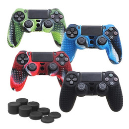 Chinese  Studded Anti-slip Silicone Rubber Cover Skin Case for Sony PlayStation 4 PS4 DS4 Pro Slim Controller with 2 Caps manufacturers