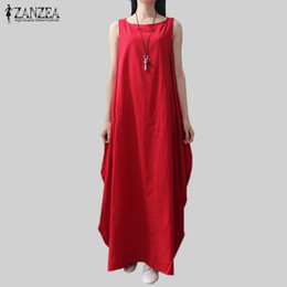 4acfe6de0d4f X907 Casual Retro Solid Summer Dress 2018 ZANZEA Women Elegant Loose  Sleeveless Dress Cotton Linen Long Maxi Dress Vestidos Plus Size