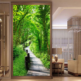 Custom printed photo baCkdrops online shopping - Custom Photo Wallpaper Wall Covering For Walls D Forest Trail Nature Landscape Wall Painting Entrance Backdrop Wall Mural Paper
