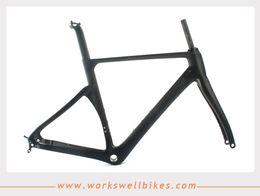 58cm frame 2018 - Workswell Full Carbon Road Bike Frame BSA Carbon Bicycle Frameset glossy ma44 46 49 52 54 56 58CM cheap 58cm frame