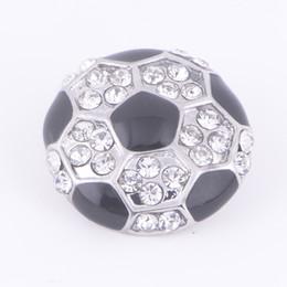 $enCountryForm.capitalKeyWord UK - Charm Bracelets Silver Snap Fit DIY Snaps Buttons Rhinestone Football jewelry 18mm Cheap Ginger Snap Jewelry Leather Bracelets